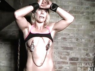 Naked Female Muscle Cougar In Agony From Nip Forceps